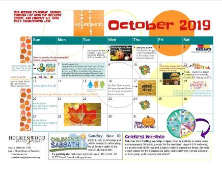 HBC Family Calendar - October 2019 jpeg